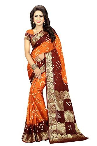 Dealsure Women's Multicolor Art Silk Bandhani Saree