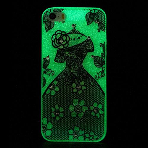Diamant Schutzhülle für iPhone SE,Leuchtend Luminous Noctilucent Handyhülle für iPhone 5S,Funyye Stilvoll Weiß Pferd Muster Ultradünne Glitter Weiche Flexible Night Luminous Transparent Rückseite Schu Schwarzes Kleid