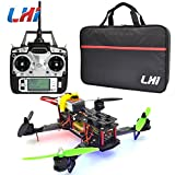 LHI Full Carbon Fiber 250 mm Quadcopter Race Copter Racing Drone Frame Kit RTF + CC3D Flight Controller + MT2204 2300KV Brushless Motor + Simonk 12A ESC Brushless Speed Controller + 5030 Propeller+ FlySky FS-T6 for FPV (Assembled)