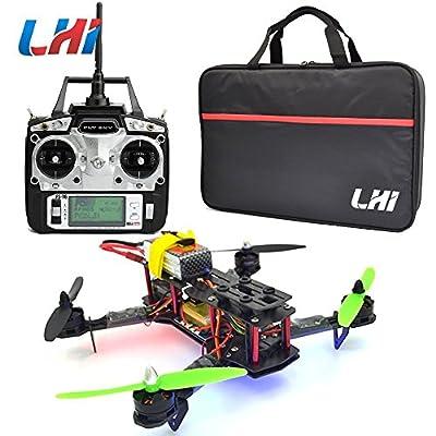 LHI Full Carbon Fiber 250 mm Quadcopter Race Copter Racing Drone Frame Kit RTF + CC3D Flight Controller + MT2204 2300KV Brushless Motor + Simonk 12A ESC Brushless Speed Controller + 5030 Propeller+ FlySky FS-T6 for FPV (Assembled)