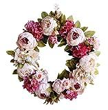 Yumu Casa Durchmesser 40cm handgefertigt Künstliche Blumen Kranz Dekokranz mit Seide Blumen für in oder im Freien Dekoration für Home Patry Tür Hochzeit Garten, rose, Diameter 40CM