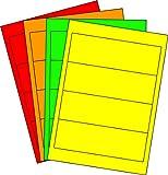 80 Etiketten selbstklebend farbig sortiert (NEON-/LEUCHTFARBEN) 61 x 190 mm Rückenetiketten für breite Ordner auf Bogen A4 (20 Bögen x 4 Etik.)