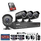 [1920 * 1080P HD] SANNCE Kit de 4 Cámaras de Vigilancia (Onvif H.264 CCTV DVR P2P 4CH AHD 1080P y 4 Cámaras 2MP IP66 IR-Cut Visión Nocturna Exterior y Interior) - 1TB Disco duro de vigilancia