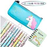 Lhasam Plumas de unicornio Caja de lápiz de papelería para chicas Escuela actual Set de regalo de cumpleaños unicornio Case 10 paquetes de unicornio colorido Bolígrafos para niñas 3 4 5 6 7 8 9 10