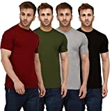 London Hills Solid Men Half Sleeve Round Neck Rust Red, Olive Green, Grey, Black, T-Shirts Combo (Pack of 4)