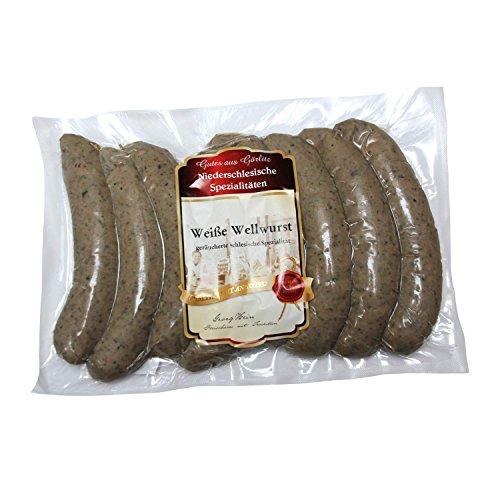 Wellwurst/Original Niederschlesische weiße Wellwurst 8 Stück 0,800kg von Dieter Hein OHNE ZUSATZSTOFFE,Semmelwurst/Wellwurst hell Leberwurstfülle