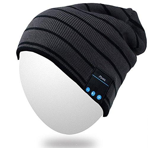 Bluetooth Beanie, Qshell Música Sombrero con inalámbrico Bluetooth para auriculares manos libres auricular del altavoz estéreo de micrófono manos libres, el mejor regalo de Navidad de cumpleaños para mujer para hombre del invierno al aire libre Esquí Snow