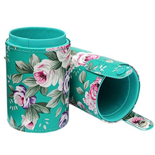 Pot à Pinceaux Maquillage Fleur en Similicuir Organisateur à Cayons en Cylindre Rangement Maquillage Conteneur de Brosses Cosmétiques