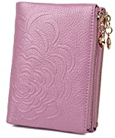 BIG SALE 70% OFF - Yaluxe Women's Flower Embossed Compact Leather Wallet Button Folding Small Purse with Two Side Zipped Pockets (Pale Purple)