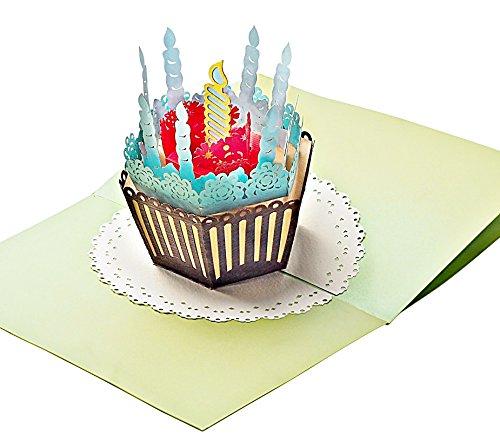 Geburtstags-Karte mit extra Seite für Grüße, edle 3-seitige Klapp-Karte für Glückwünsche & Jubiläum, hochwertige 3D Pop-Up Karte mit Kuchen & Kerzen für viele feierliche Anlässe