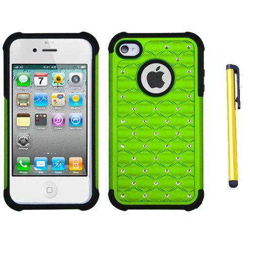 fits-apple-iphone-4-4s-hard-plastic-snap-on-cover-green-black-luxurious-lattice-dazzling-totaldefens