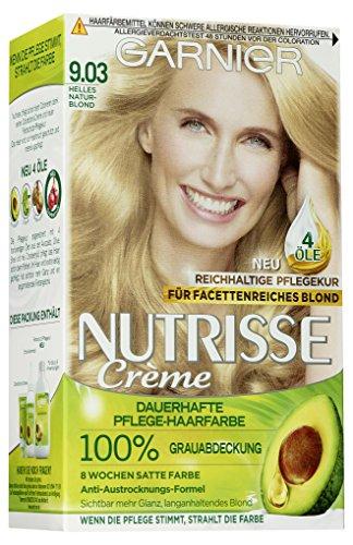 Garnier Nutrisse Creme Coloration Helles Natur-Blond 9.03 / Färbung für Haare für permanente Haarfarbe (mit 3 nährenden Ölen) - 3 x 1 Stück - Blonde Abdeckung