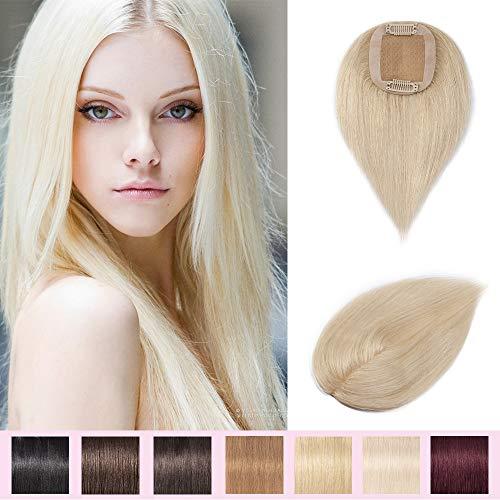 Silk-co Toupet Frauen 100% Remy Extensions Echthaar Mono Spitze Toupets Clip in gratis Teil - #60 Platin-Blondine 23g 35cm Mono Clip