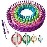 Tmade Lot de 4 circulaire Ensemble de Métier à Tisser Chaussette Écharpe Chapeau Tricoter Avec Cadeau Pompon Maker