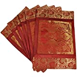 Lal Haveli Dining Table Mat Set Of 6 Golden Work Silk Placemats Set Best For Bed-Side Table/Centre Table 18 X 12 Inches