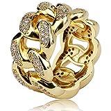 Anello a Catena Cubana di Moda con Gioielli Moca ghiacciati Anello in Oro 18 carati con Diamante simulato Bling CZ per Uomo D