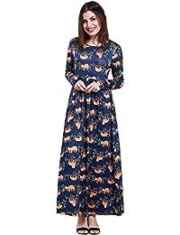 894c112aa Queenromen Women's Cute Sloth Print Maxi Dress Long Sleeve Empire Waist  Beach Dresses