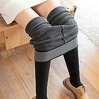 Leggings Pantalones de una Pieza, Pantalones Gruesos Y de Terciopelo para Mujer, Caderas, Cintura Delgada, Pantalones de Tacón Alto, Polainas Anti-Pilling, Invierno de Mujer,Gris,Una Talla