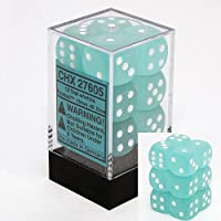 Chessex Dice d6 Sets: Frosted Teal with White - 16mm Six Sided Die (12) Block of Dice