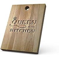 """Planche à découper en chêne massif de haute qualité personnalisée idéale pour hacher, couper et présenter vos mets - Un cadeau parfait pour les amis et la famille - Avec un design """"Queen Of The Kitchen"""""""