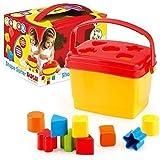 Brightly Coloured Shape Block Sorter Bucket for Toddler & Kids by Dolu