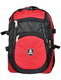 KTX Red & Black Synthetic Coated Cloth School Backpack (30 LTR) - Middle & High School