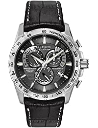 Citizen Men's Eco-Drive Chronograph Watch with a Black Dial and a Black Leather Strap AT4000-02E