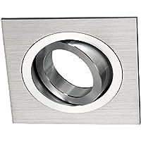 Wonderlamp Classic W-E000006 - Foco empotrable cuadrado, aluminio, incluye portalámparas GU10, ángulo basculación 30º, 9 x 9 x 2,5 cm, color gris