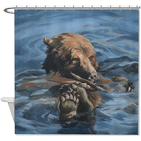 whiangfsoo Orso Divertimento Pittura a olio poliestere tessuto tenda per doccia, antiscivolo, #3, 48