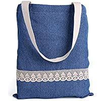 Wewod semplice borsa pizzo denim borsa per la spesa, Cotone lino, Blue, 30cmx35cm