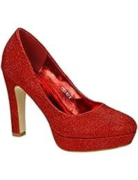 1ccb5d9f9f0c87 King Of Shoes Klassische Damen Glitzer Pumps Stilettos High Heels Plateau  Abend Schuhe Bequem 315