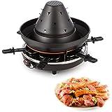 Klarstein Taste Volcano Machine à raclette (chapeau tatare pour repas festif appareil multifonction, 1500 W, 6 poêlons anti-adhésif, réglage de la température)