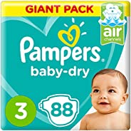 Pampers Baby-Dry Diapers, Size 3, Midi, 6-10kg