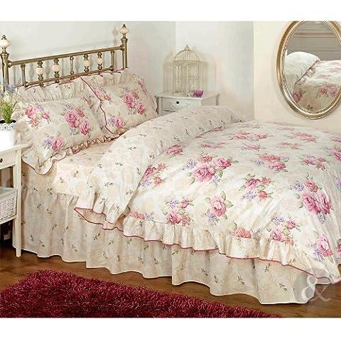 Just Contempo - Juego de funda nórdica y dos fundas de almohada, diseño de flores, color blanco y rosa, mezcla de algodón, rosa/crema/beige, funda de edredón doble King size