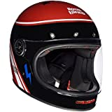 Royal Enfield Drifter-Ride More HESS18001 Full Face Helmet (Black and Red, L)