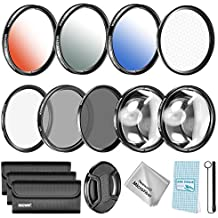 Neewer Kit filtro y accesorios de lente 52MM para Nikon D3200 D5100 D3100 D5200 D3300 D5300 DSLRs. incluye:filtro UV CPL ND4 Macro Close-up (+ 4 + 10) Filtros graduado de Color filtro estrella de 6 puntos