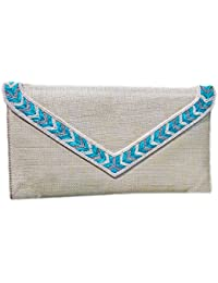 Armkandy, Pearl White & Turquoise Clutch, Womenn Clutches