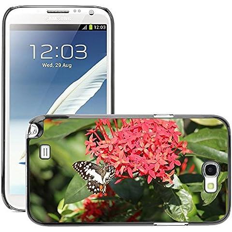 Carcasa Funda Prima Delgada SLIM Casa Case Bandera Cover Shell para // M00115079 Ixora Fiore Rosso Farfalla Cluster // Samsung Galaxy Note 2 II N7100