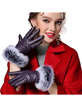 Butterme Cálidos guantes de cuero para dama, guantes forrados para invierno con piel de conejo, aptos para pantalla...