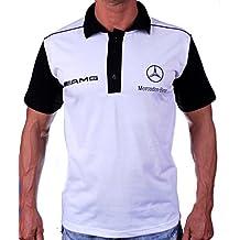 OTO-MOTO Audi Quattro Polo Camiseta Necklace Logotipo del Bordado Embroided Collar Blanco algod/ón