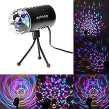 Zetong Mini 3W RGB Disco Sonido Activado Efecto de Luz de LED Efecto de Luz de Escenario Proyector de Luz de Cristal para Fiesta de Club [Clase de Energía A ++]
