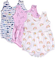 Moms Home Organic Cotton Baby Girls Frock Onesie/Bodysuit - Pack of 3- Mix Designs