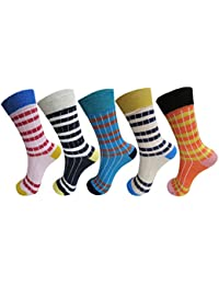 RC. ROYAL CLASS Kids Calf Length Stripped Cotton Socks (Pack of 5 Pairs) (1-10 Years)