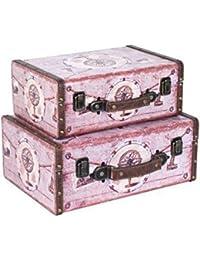 Set de 2 Maletas Decorativas Rosas.. Equipaje Viaje. 24.5 x 34.5 x 14.5