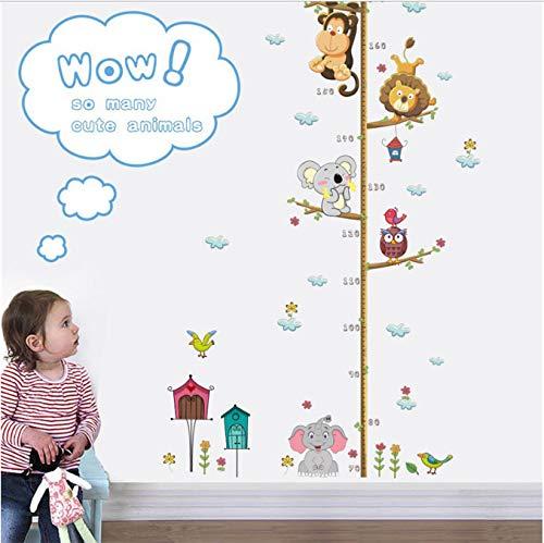 hfwh Wand-Aufkleber Cartoon Tiere Löwe AFFE Eule Elefant Höhe Maßnahme Für Kinder Zimmer Wachstum Diagramm Kinderzimmer Zimmer Dekor Wandkunst 30x90cm