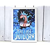 UNICORN UNIWORM lustig Poster Din A4 Einhorn Wurm Kinderzimmer bunt Deko Dekoration Universität Student Wohnheim kitsch Fantasy Humor