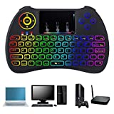 Mini Kabellose Tastatur,TechKen 2,4 GHz Wireless Tastatur Touchpad-Maus Combo,mit LED Rainbow Hintergrundbeleuchtung Verwenden Sie für Windows,Android,Smart TV,XBO,PS3 PC Mac MEHRWEG