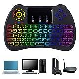 Mini Kabellose Tastatur, TechKen 2,4 GHz Wireless Tastatur Touchpad-Maus Combo, mit LED Rainbow Hintergrundbeleuchtung Verwenden Sie für Windows, Android, Smart TV, XBO, PS3, PC und Mac