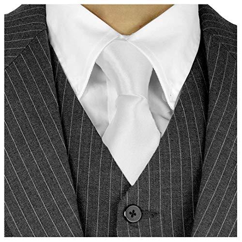 Moda Di Raza Herren Krawatte, lang, 7,6 cm, Satin, Seiden-Finish, einfarbig - Weiß - Krawatte ohne Box Gold Cummerbund-set