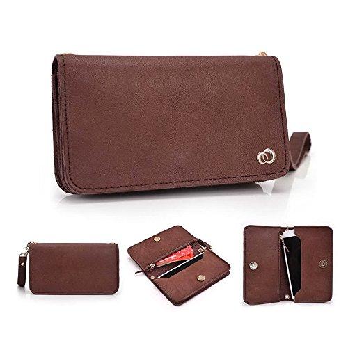Kroo Pochette Cou en cuir fait avec dragonne pour Smartphone 12,7cm Housse de transport Compatible avec Huawei Ascend y540 Beige - peau Marron - marron